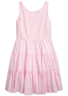 Ralph Lauren: Polo Polo Ralph Lauren Big Girls Tiered Cotton Seersucker Dress