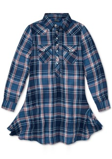 Ralph Lauren: Polo Polo Ralph Lauren Big Girls Western Plaid Cotton Shirtdress