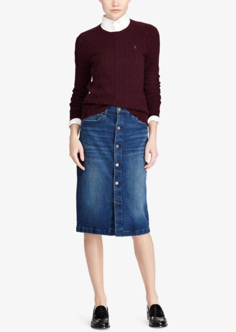53a0f6ea53 Ralph Lauren  Polo Polo Ralph Lauren Button-Front Denim Pencil Skirt ...