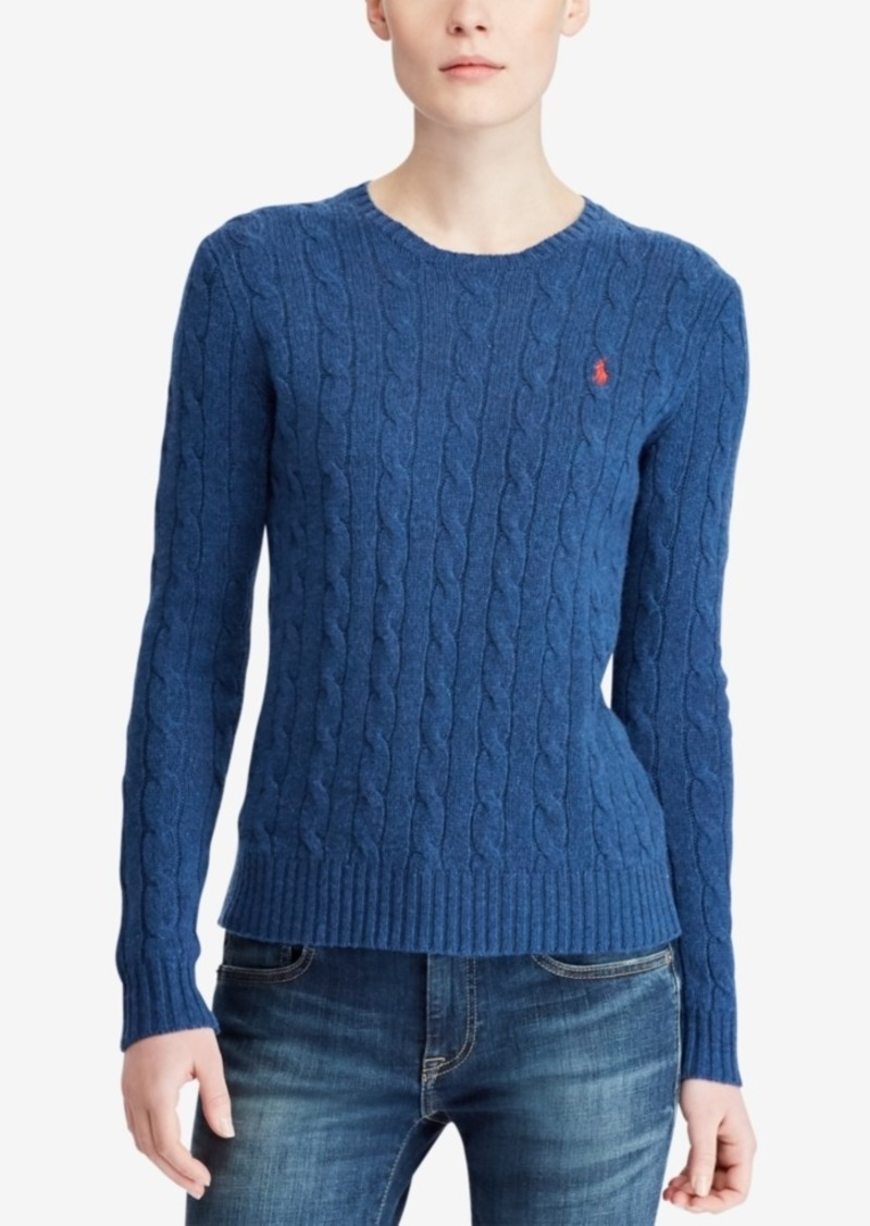 b8bd2541a95c Ralph Lauren  Polo Polo Ralph Lauren Cable Crew-Neck Wool Cashmere Blend  Sweater