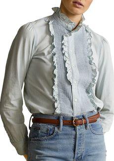 Ralph Lauren: Polo Polo Ralph Lauren Chambray Ruffle Trim Shirt