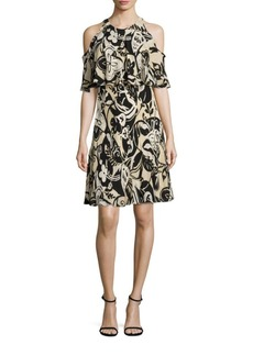 Polo Ralph Lauren Cold Shoulder Silk Floral-Print Dress