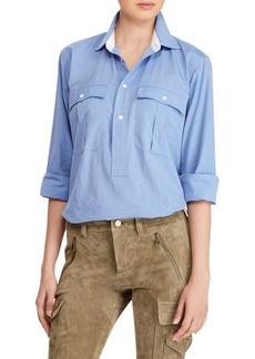 Ralph Lauren: Polo Cotton Button-Front Top
