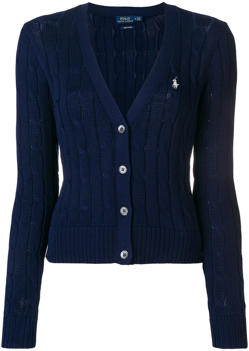 Ralph Lauren Polo Cropped Cable Knit Cardigan Sweaters