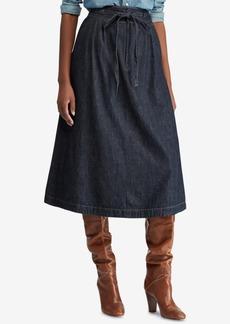 Ralph Lauren: Polo Polo Ralph Lauren Denim Cotton A-Line Midi Skirt