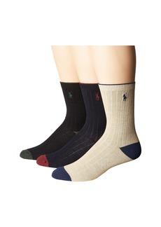 Ralph Lauren: Polo Dress Rib Slack with Heel/Toe 3-Pack (Toddler/Little Kid)