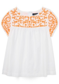 Ralph Lauren: Polo Polo Ralph Lauren Embroidered Cotton Top, Big Girls