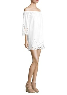 Polo Ralph Lauren Embroidered Off-The-Shoulder Linen Dress