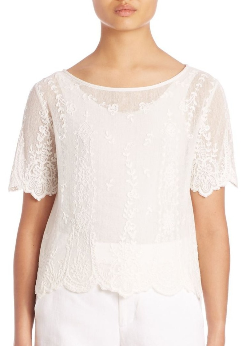 Ralph Lauren: Polo Polo Ralph Lauren Embroidered Tulle Top