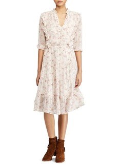 Ralph Lauren: Polo Polo Ralph Lauren Floral Ruffle Fit-and-Flare Dress