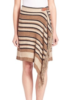 Polo Ralph Lauren Fringe-Trim Knit Wrap Skirt