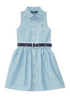 Ralph Lauren: Polo Polo Ralph Lauren Girls' Belted Chambray Shirtdress - Little Kid