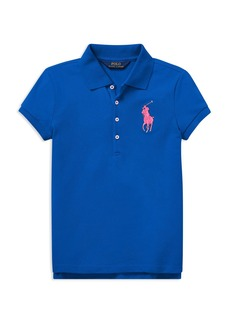 Ralph Lauren: Polo Polo Ralph Lauren Girls' Big Pony Stretch-Mesh Polo Shirt - Big Kid