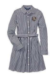 Ralph Lauren: Polo Polo Ralph Lauren Girls' Cotton Bengal Stripe Dress with Belt - Big Kid