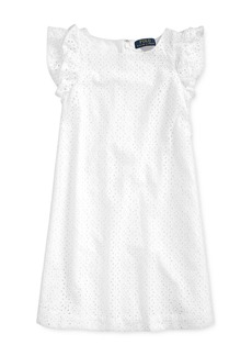 Ralph Lauren: Polo Polo Ralph Lauren Girls' Cotton Eyelet Embroidered Dress - Big Kid