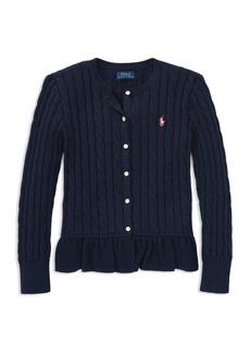 Ralph Lauren: Polo Polo Ralph Lauren Girls' Cotton Ruffled Cardigan - Little Kid