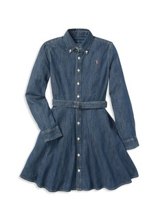Ralph Lauren: Polo Polo Ralph Lauren Girls' Denim Shirt Dress with Belt - Little Kid