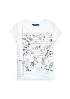 Ralph Lauren: Polo Polo Ralph Lauren Girls' Doodle-Print Tee - Little Kid