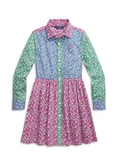 Ralph Lauren: Polo Polo Ralph Lauren Girls' Floral Colorblock Button Up Dress - Big Kid