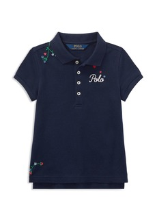 Ralph Lauren: Polo Polo Ralph Lauren Girls' Floral-Embroidered Polo - Little Kid