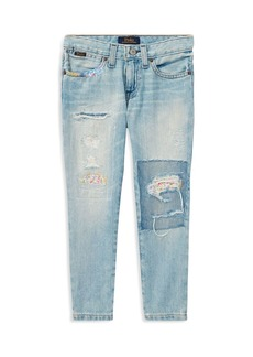 Ralph Lauren: Polo Polo Ralph Lauren Girls' Floral-Patch Slim-Fit Boyfriend Jeans - Little Kid