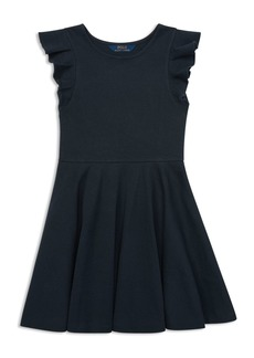 Ralph Lauren: Polo Polo Ralph Lauren Girls' Flutter-Sleeve Stretch Dress - Big Kid