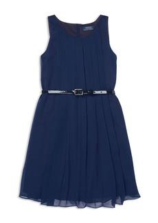 Ralph Lauren: Polo Polo Ralph Lauren Girls' Pleated Chiffon Dress with Belt - Big Kid