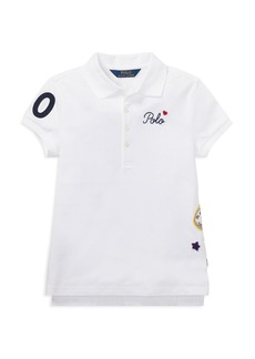 Ralph Lauren: Polo Polo Ralph Lauren Girls' Polo Shirt with Varsity Patches - Big Kid