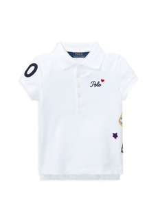 Ralph Lauren: Polo Polo Ralph Lauren Girls' Polo Shirt with Varsity Patches - Little Kid