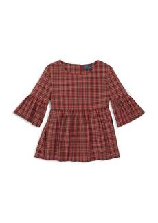Ralph Lauren: Polo Polo Ralph Lauren Girls' Poplin Plaid Bell-Sleeve Top - Big Kid