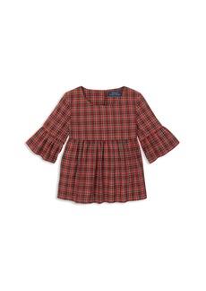 Ralph Lauren: Polo Polo Ralph Lauren Girls' Poplin Plaid Bell-Sleeve Top - Little Kid