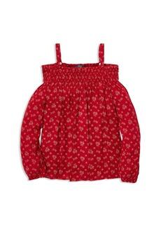 Ralph Lauren: Polo Polo Ralph Lauren Girls' Printed Smocked Top - Big Kid