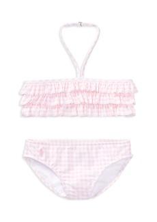 Ralph Lauren: Polo Polo Ralph Lauren Girls' Ruffled 2-Piece Gingham-Print Swimsuit - Little Kid
