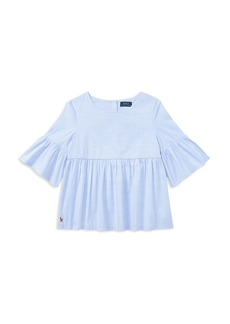 Ralph Lauren: Polo Polo Ralph Lauren Girls' Ruffled Bell-Sleeve Top - Little Kid