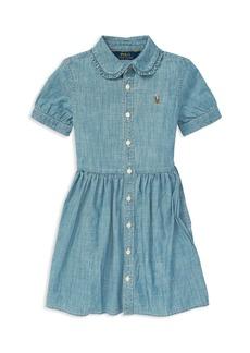 Ralph Lauren: Polo Polo Ralph Lauren Girls' Ruffled Chambray Dress - Little Kid