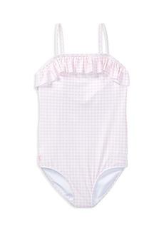 Ralph Lauren: Polo Polo Ralph Lauren Girls' Ruffled Gingham-Print Swimsuit - Big Kid