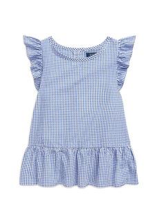 Ralph Lauren: Polo Polo Ralph Lauren Girls' Ruffled Seersucker Gingham Top - Little Kid