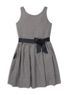 Ralph Lauren: Polo Polo Ralph Lauren Girls' Sateen Glen Plaid Dress with Sash - Big Kid