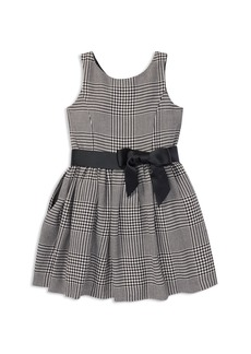 Ralph Lauren: Polo Polo Ralph Lauren Girls' Sateen Glen Plaid Dress with Sash - Little Kid