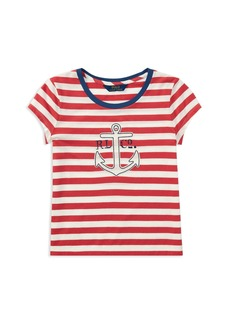 Ralph Lauren: Polo Polo Ralph Lauren Girls' Striped Anchor Tee - Big Kid