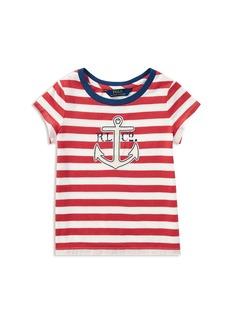 Ralph Lauren: Polo Polo Ralph Lauren Girls' Striped Anchor Tee - Little Kid