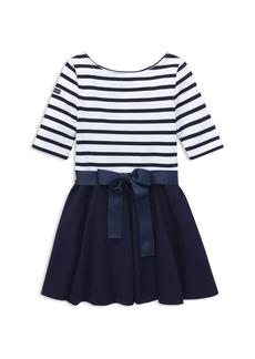 Ralph Lauren: Polo Polo Ralph Lauren Girls' Stripe Knit Ponte Dress - Little Kid