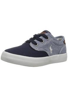 Ralph Lauren: Polo Polo Ralph Lauren Kids Boys' Lewis Sneaker Blue Chambray-Navy Canvas 2.5 Medium US Little