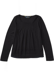 Ralph Lauren: Polo Rayon Jersey Knit Woven to Woven Top (Toddler)