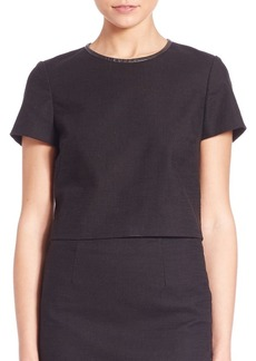 Ralph Lauren: Polo Polo Ralph Lauren Leather-Trim Tweed Crop Top