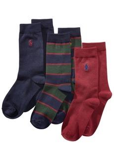 Ralph Lauren: Polo Polo Ralph Lauren Little & Big Boys 3-Pk. Striped Crew Socks
