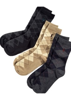 Ralph Lauren: Polo Polo Ralph Lauren 3-Pk. Argyle Socks, Little Boys & Big Boys