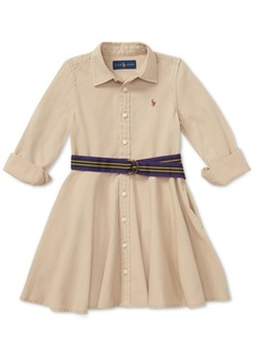 Ralph Lauren: Polo Polo Ralph Lauren Little Girls Chino Cotton Shirtdress