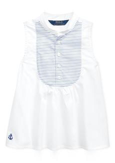 Ralph Lauren: Polo Polo Ralph Lauren Little Girls Cotton Broadcloth Bib Shirt