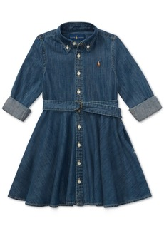 Ralph Lauren: Polo Polo Ralph Lauren Toddler Girls Denim Cotton Shirtdress